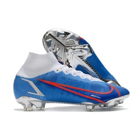 Scarpe Nike Mercurial Superfly VIII Elite FG Blu Bianco Rosso