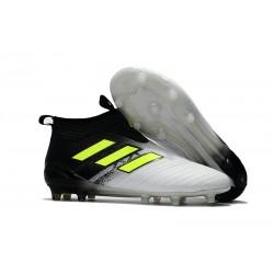 Adidas Scarpa ACE 17+ Pure Control FG Laceless - Bianco Nero Giallo