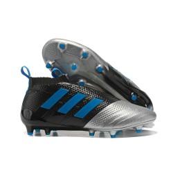 Adidas Scarpa ACE 17+ Pure Control FG Laceless - Nero Blu Metallico
