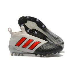 Adidas Scarpa ACE 17+ Pure Control FG Laceless - Grigio Nero Rosso