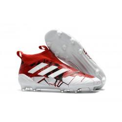 Adidas Scarpa ACE 17+ Pure Control FG Laceless - Rosso Bianco