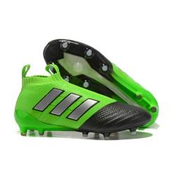 Adidas Scarpa ACE 17+ Pure Control FG Laceless - Verde Nero Metallico