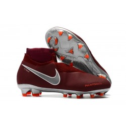Nike Phantom VSN DF FG Scarpe da Calcio Uomo - Rosso Argento