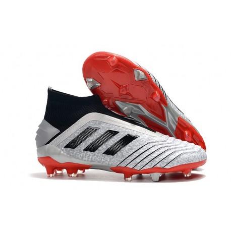 Scarpe da Calcio adidas Predator 19+ FG - Argento Nero Rosso