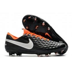 Nike Scarpe da Calcio Tiempo Legend 8 Elite FG - Nero Bianco Arancione