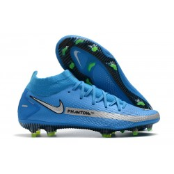 Nuovo Scarpa Nike Phantom GT Elite DF FG Blu Argento